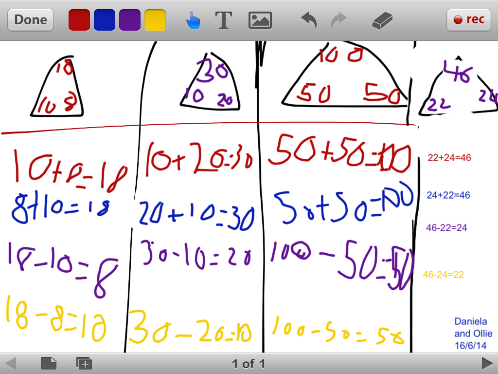 These students used Educreations to show a few different fact families.